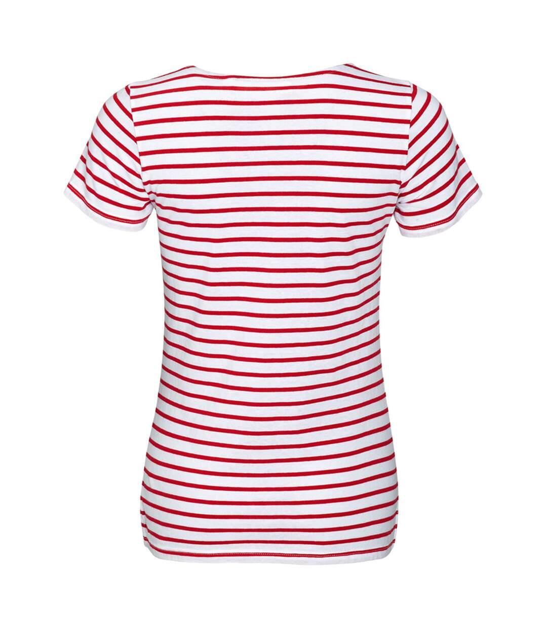 Sols Miles - T-Shirt Rayé À Manches Courtes - Femme (Blanc / rouge) - UTPC2585