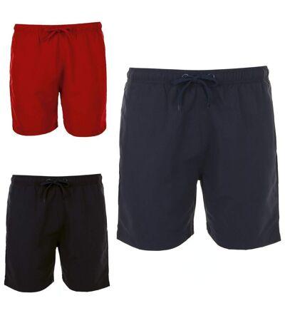 Lot 3 shorts de bain pour Homme - 01689 bleu marine rouge et noir