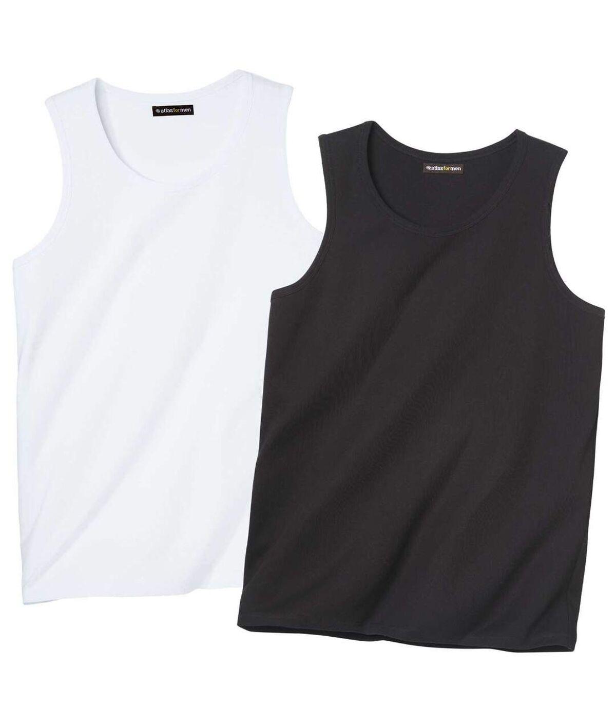 Pack of 2 Men's Leisure Vests - Black White Atlas For Men