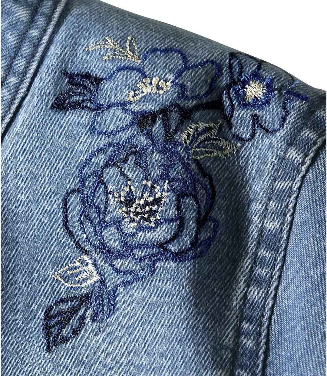 Bestickte Jacke aus Stretch-Denim