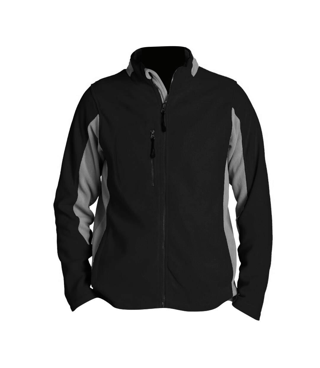 SOLS Mens Nordic Full Zip Contrast Fleece Jacket (Black/Medium Grey) - UTPC409