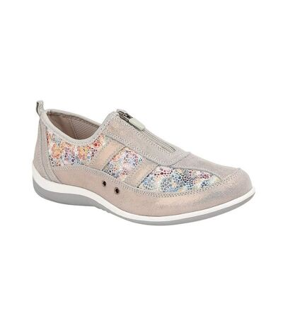 Boulevard - Chaussures en daim a motif floral  - Femme (Gris) - UTDF1704