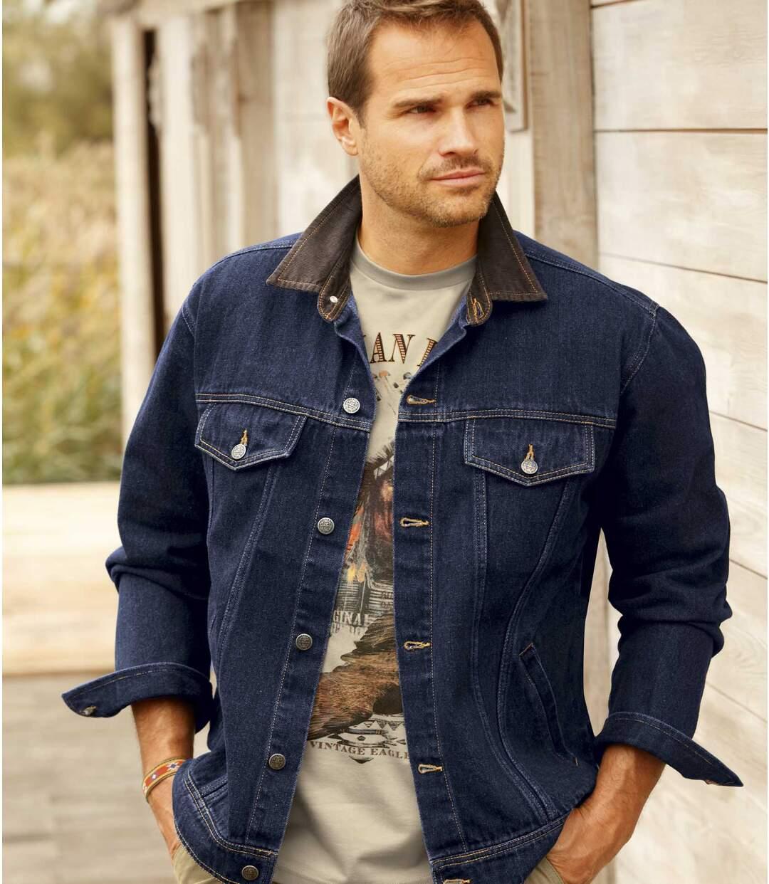 Men's Dark Blue Denim Jacket