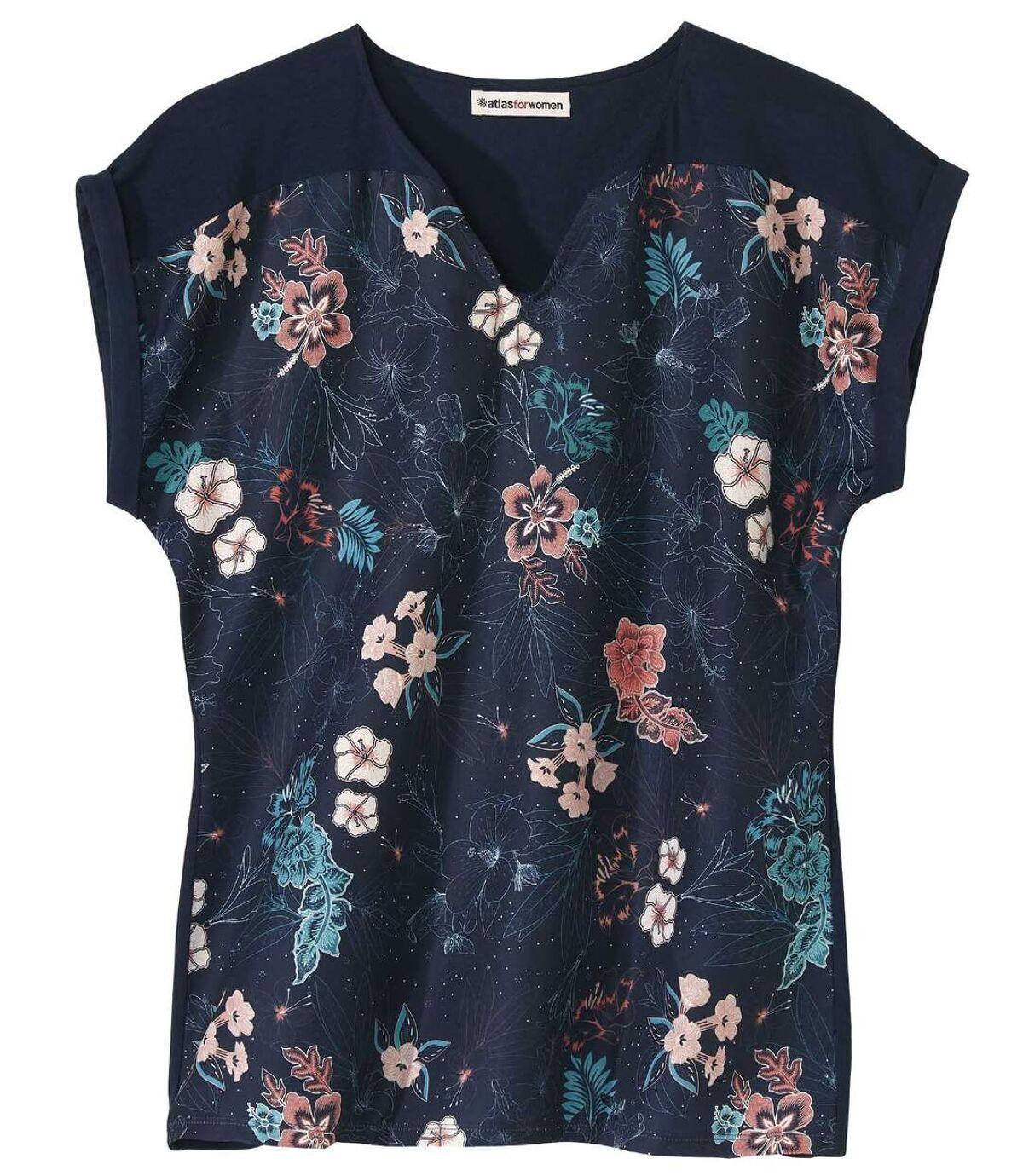 Dwumateriałowa bluzka z kwiatowym nadrukiem Atlas For Men
