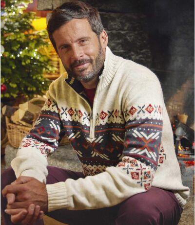 Pletený pulóver so žakárovým motívom