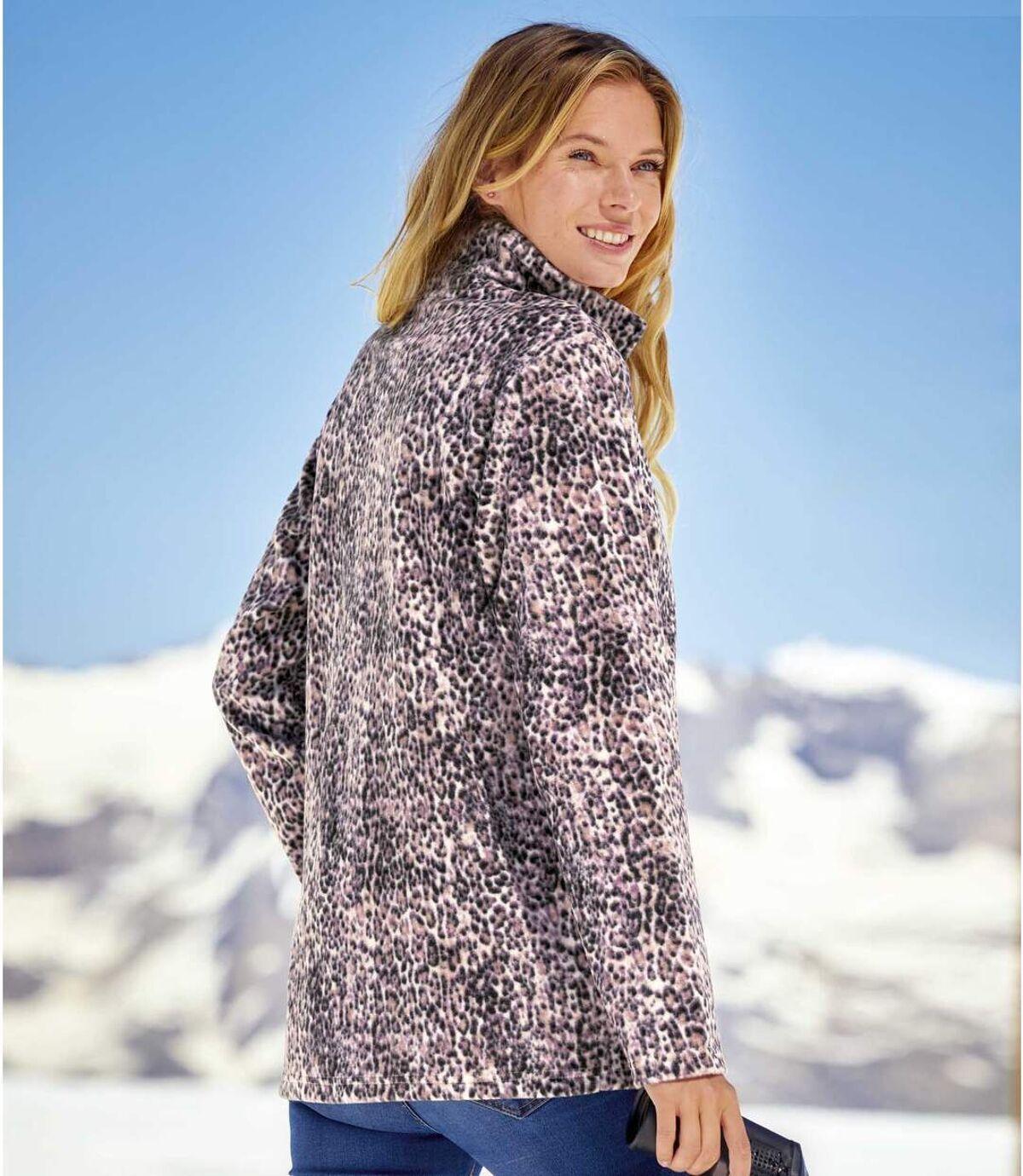Women's Pink Leopard Print Fleece Jacket - Full Zip Atlas For Men
