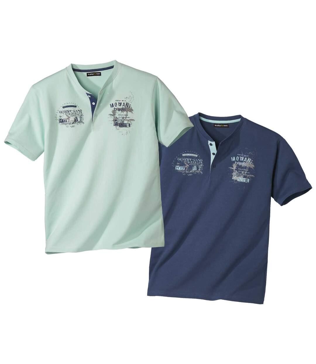 Pack of 2 Men's Exploration T-Shirts - Navy Blue