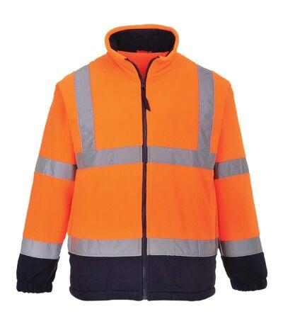 Portwest Mens Lined Hi Vis Fleece Jacket (Pack of 2) (Orange/ Navy) - UTRW6878