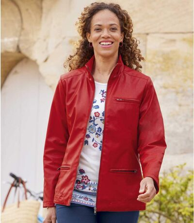 Women's Red Faux-Leather Jacket