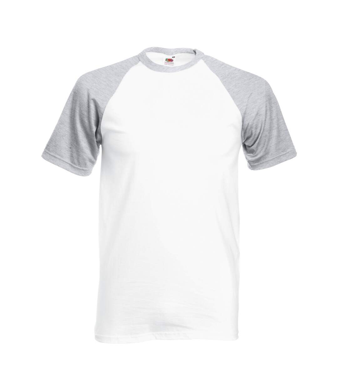 Fruit Of The Loom Mens Short Sleeve Baseball T-Shirt (White/Heather Grey) - UTBC327