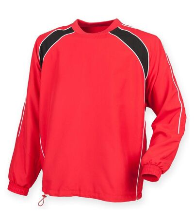 Finden & Hales Mens Long Sleeve Sports Warm-up Drill Top (Red/ Black/ White) - UTRW4159