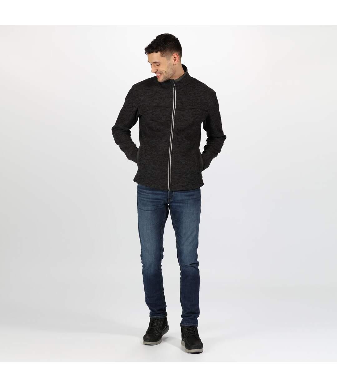 Regatta Mens Earvin Full Zip Broken Stripe Fleece (Seal Grey) - UTRG4596