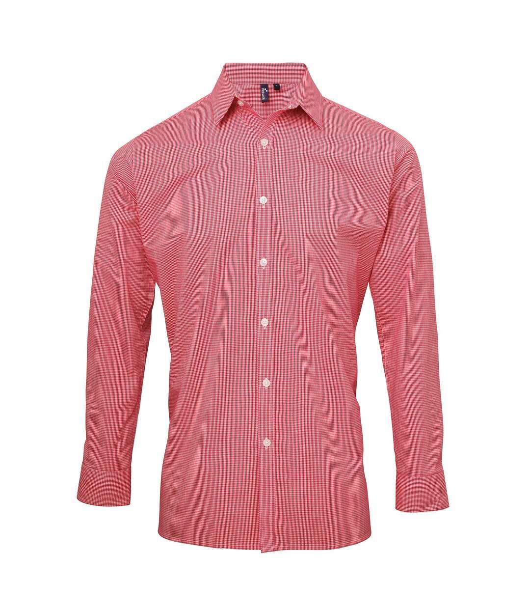 Premier Mens Microcheck Long Sleeve Shirt (Red/White) - UTRW5526