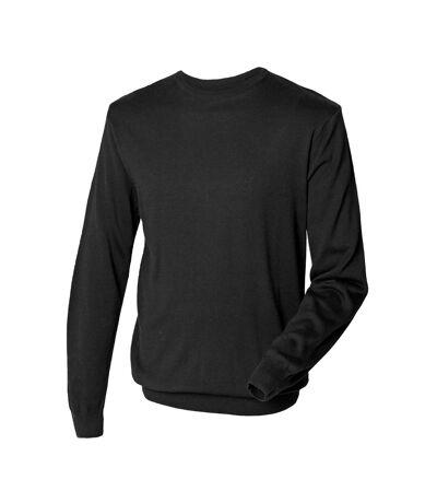 Henbury Mens Crew Neck 12 Gauge Fine Knit Jumper / Sweatshirt (Black) - UTRW664