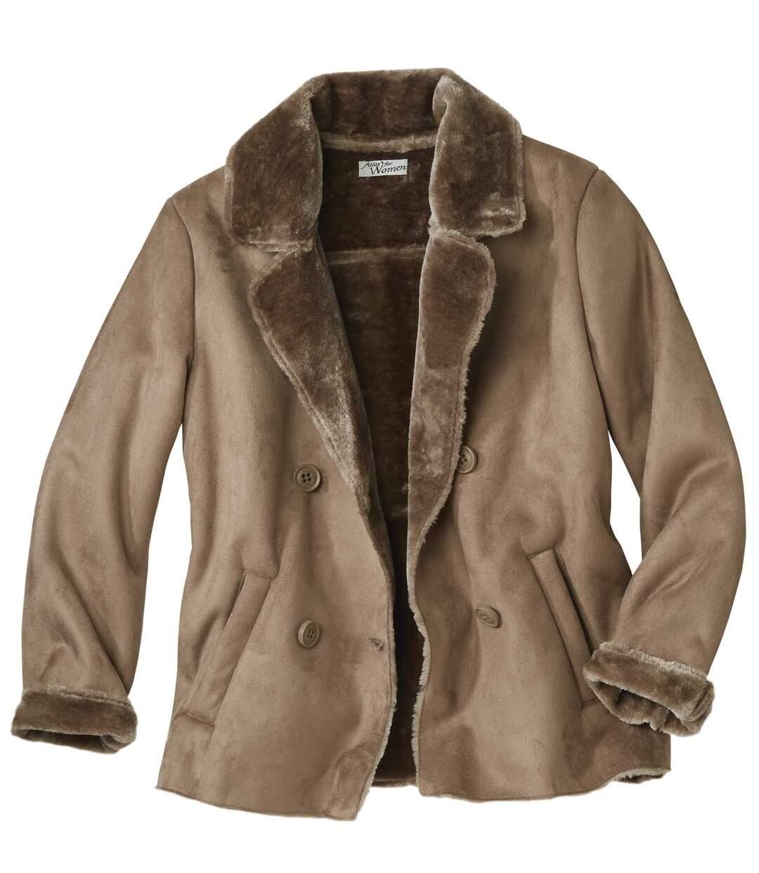 Women's Brown Faux Suede Coat with Faux Fur Trim