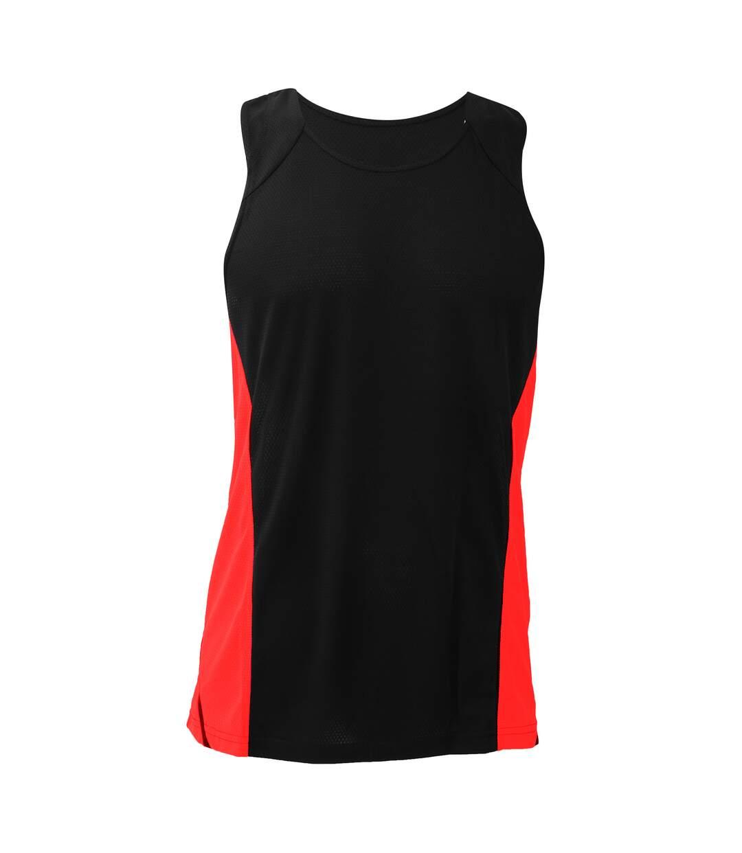 Gamegear® Mens Cooltex® Sports Sleevless Vest Top / Mens Sportswear (Black/Fluorescent Orange) - UTBC433