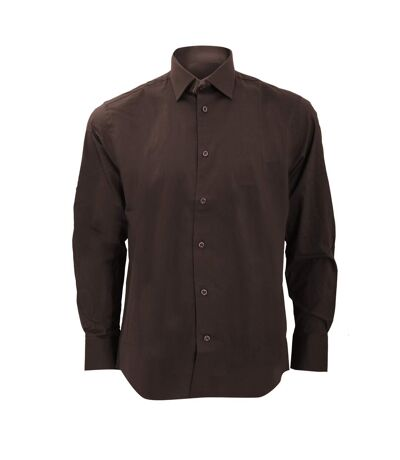 Russell Collection Mens Long Sleeve Easy Care Fitted Shirt (Chocolate) - UTBC1031