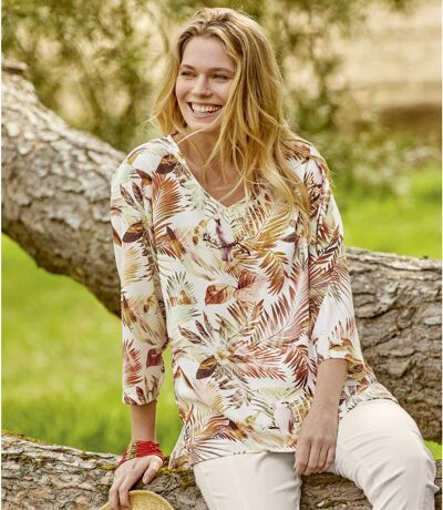 Women's Multicolored Tropical Print Crepe Top