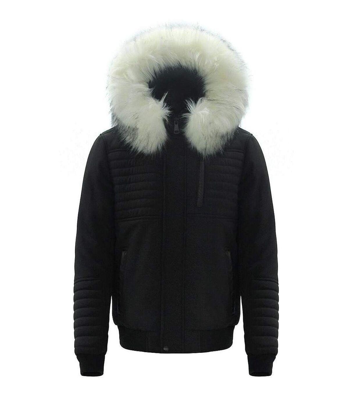 Parka doudoune courte noire matelassée et à capuche belle fourrure synthétique blanche