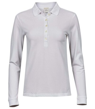 Polo femme luxury stretch - 146 - blanc - manches longues