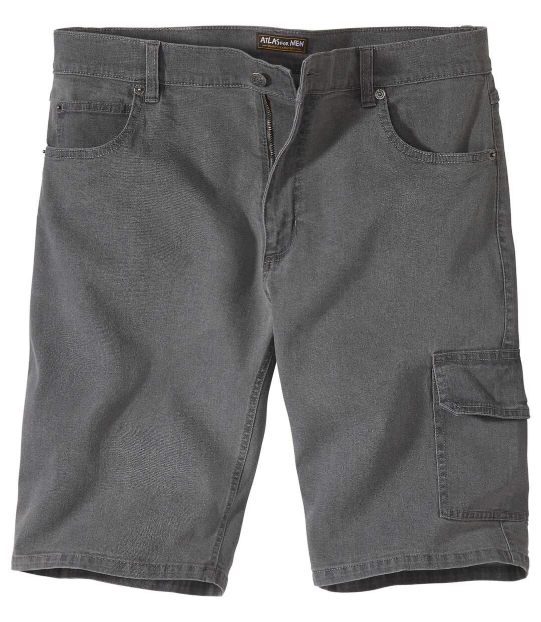 Sivé bermudy zo strečovej džínsoviny Cargo