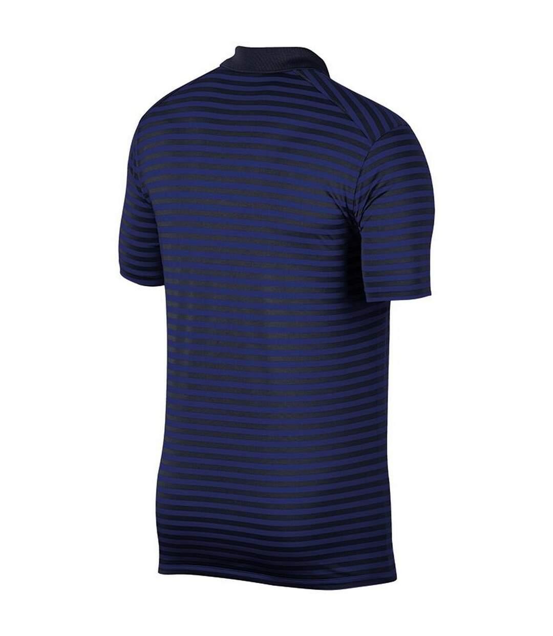 Nike Mens Dry Victory Stripe Polo (Obsidian/Deep Royal Blue/FLT Silver) - UTRW6579
