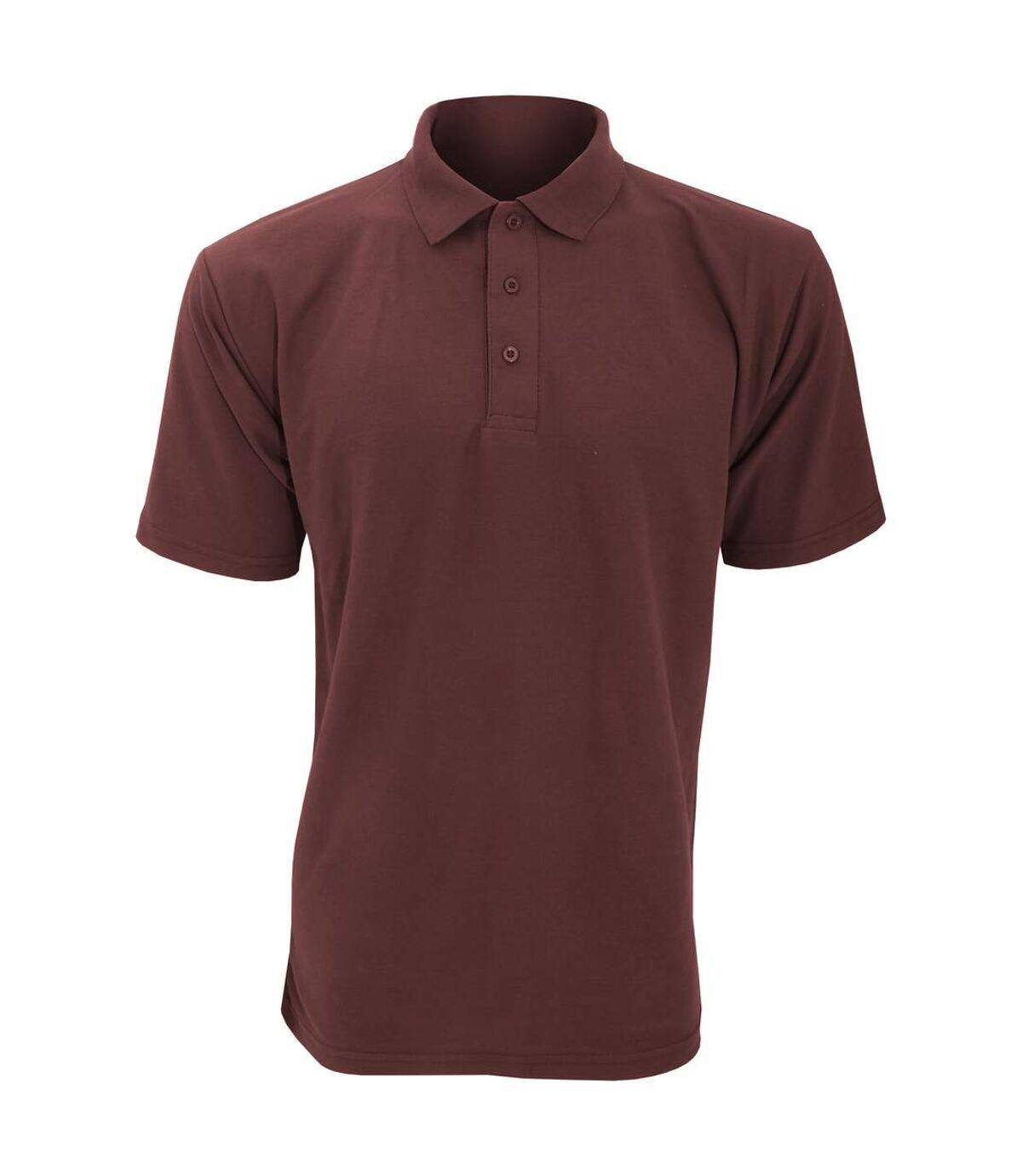 UCC 50/50 Mens Plain Piqué Short Sleeve Polo Shirt (Burgundy) - UTBC1194