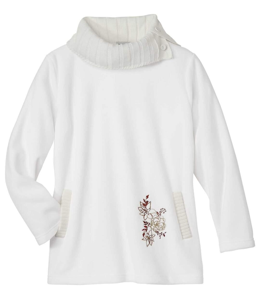 Pullover im Tunika-Stil aus Strick und Fleece