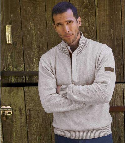 Melanżowy, bawełniany sweter z wykładanym kołnierzem