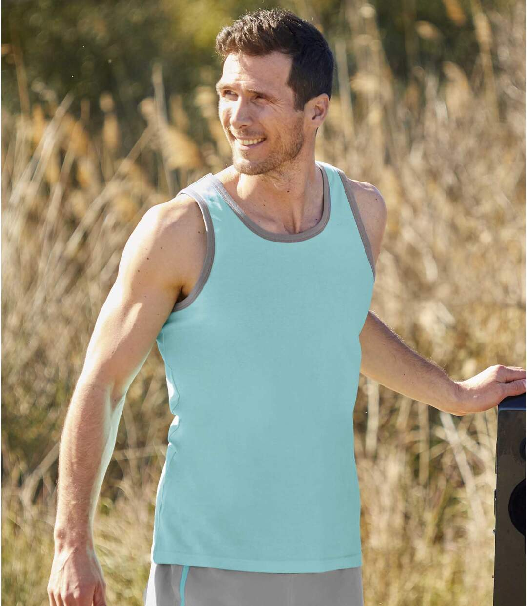 Pack of 3 Men's Summer Vests - White Grey Turquoise