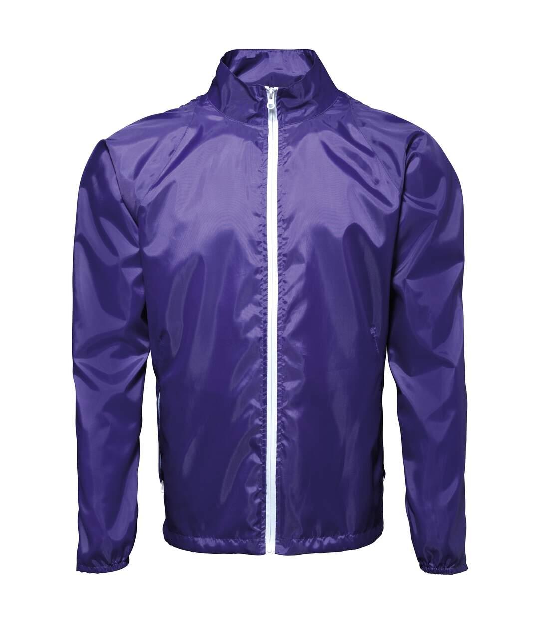 2786 Mens Contrast Lightweight Windcheater Shower Proof Jacket (Pack of 2) (Purple/ White) - UTRW7001