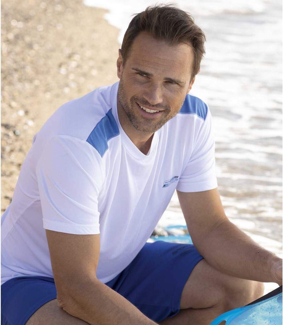 Pack of 2 Men's Sporty T-Shirts - White Blue Atlas For Men