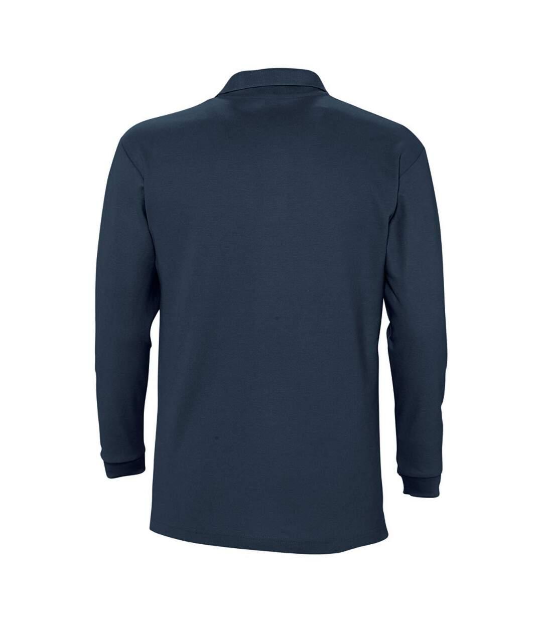 SOLS Mens Winter II Long Sleeve Pique Cotton Polo Shirt (Navy) - UTPC329