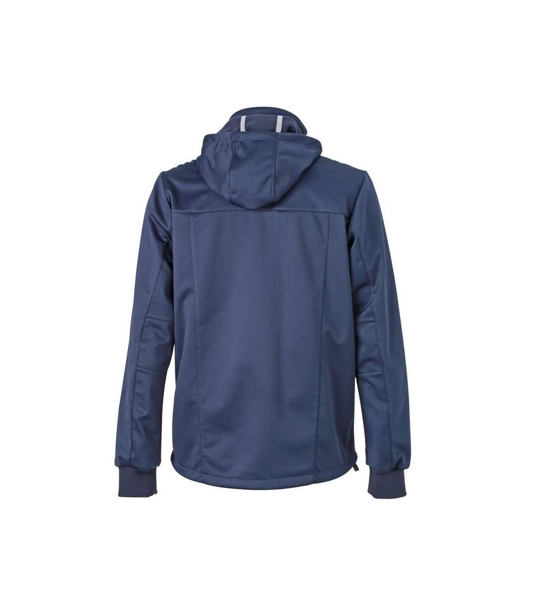Veste softshell à capuche - homme JN1078 - bleu marine - coupe-vent imperméable