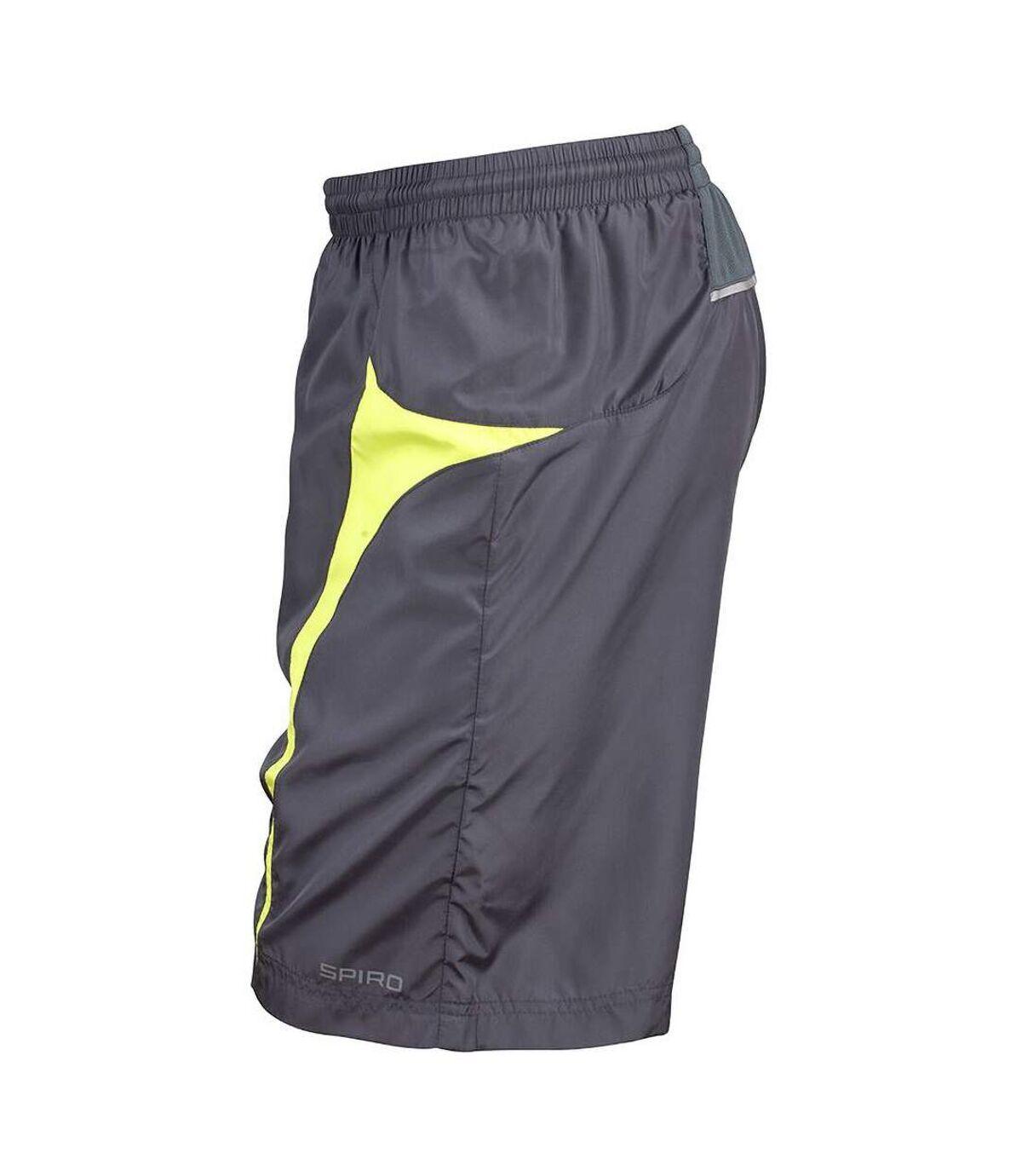 Spiro Mens Micro-Team Sports Shorts (Grey/Lime) - UTRW1478