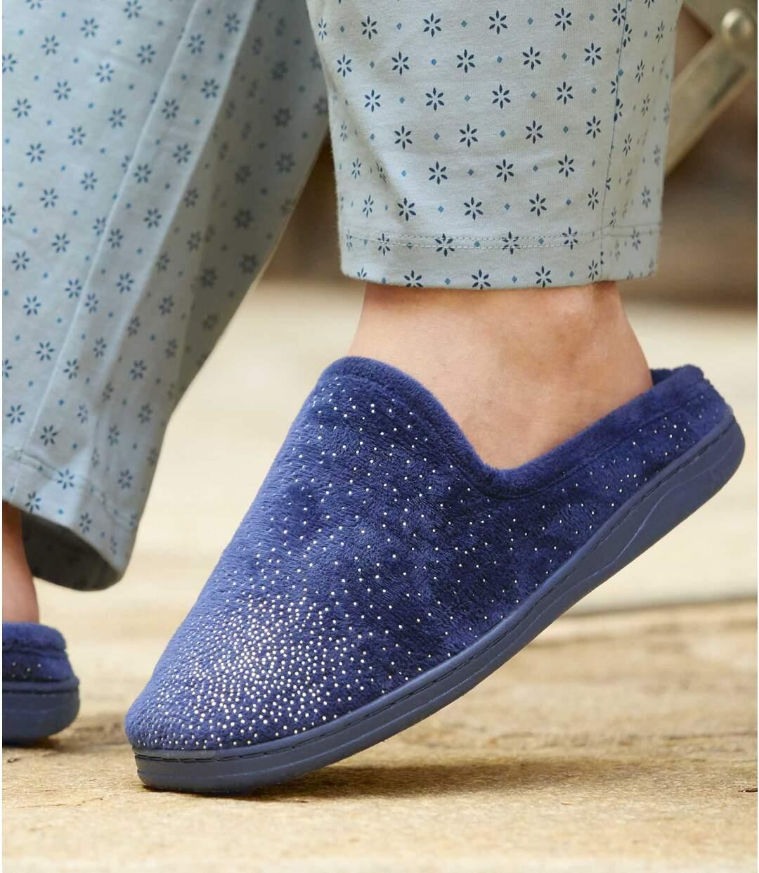 Women's Blue Velour Slippers Atlas For Men