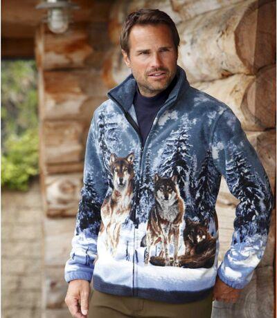Men's Wolf Print Fleece Jacket - Full Zip