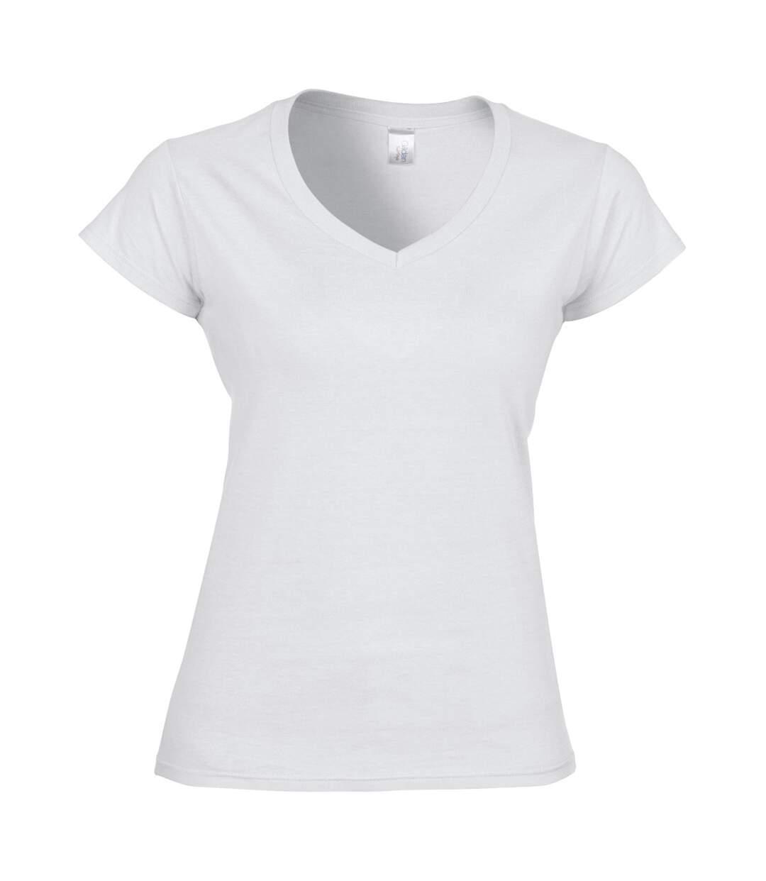 Gildan - T-Shirt À Manches Courtes Et Col En V - Femme (Blanc) - UTBC491