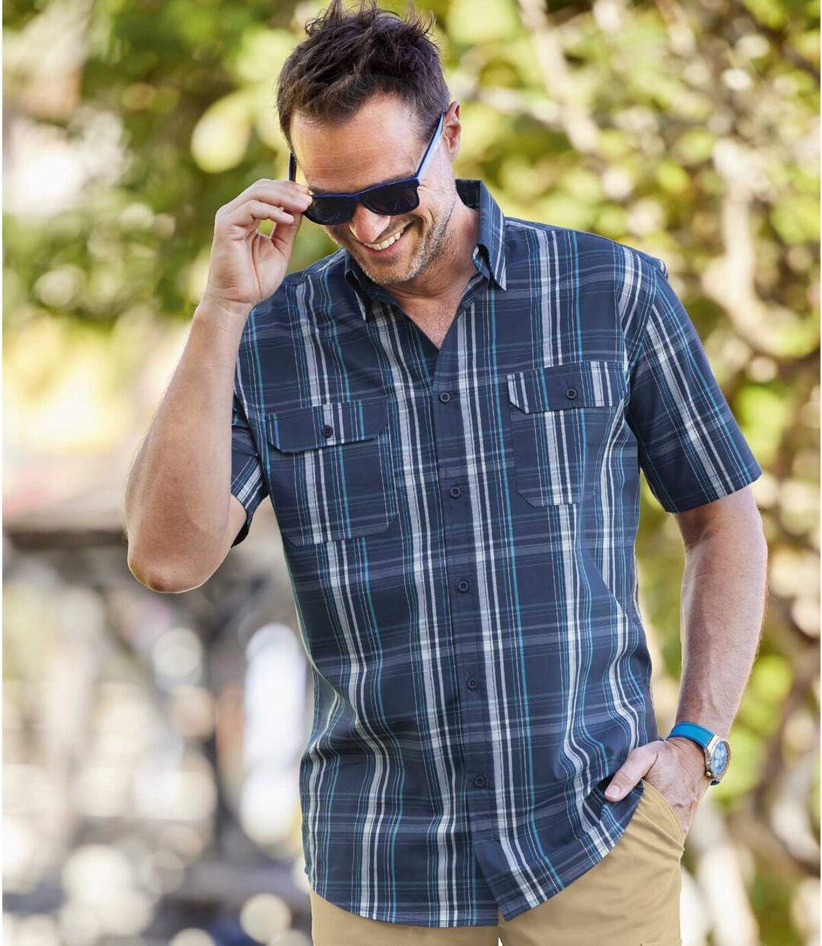 Blau kariertes Hemd mit Stretch-Effekt Atlas For Men