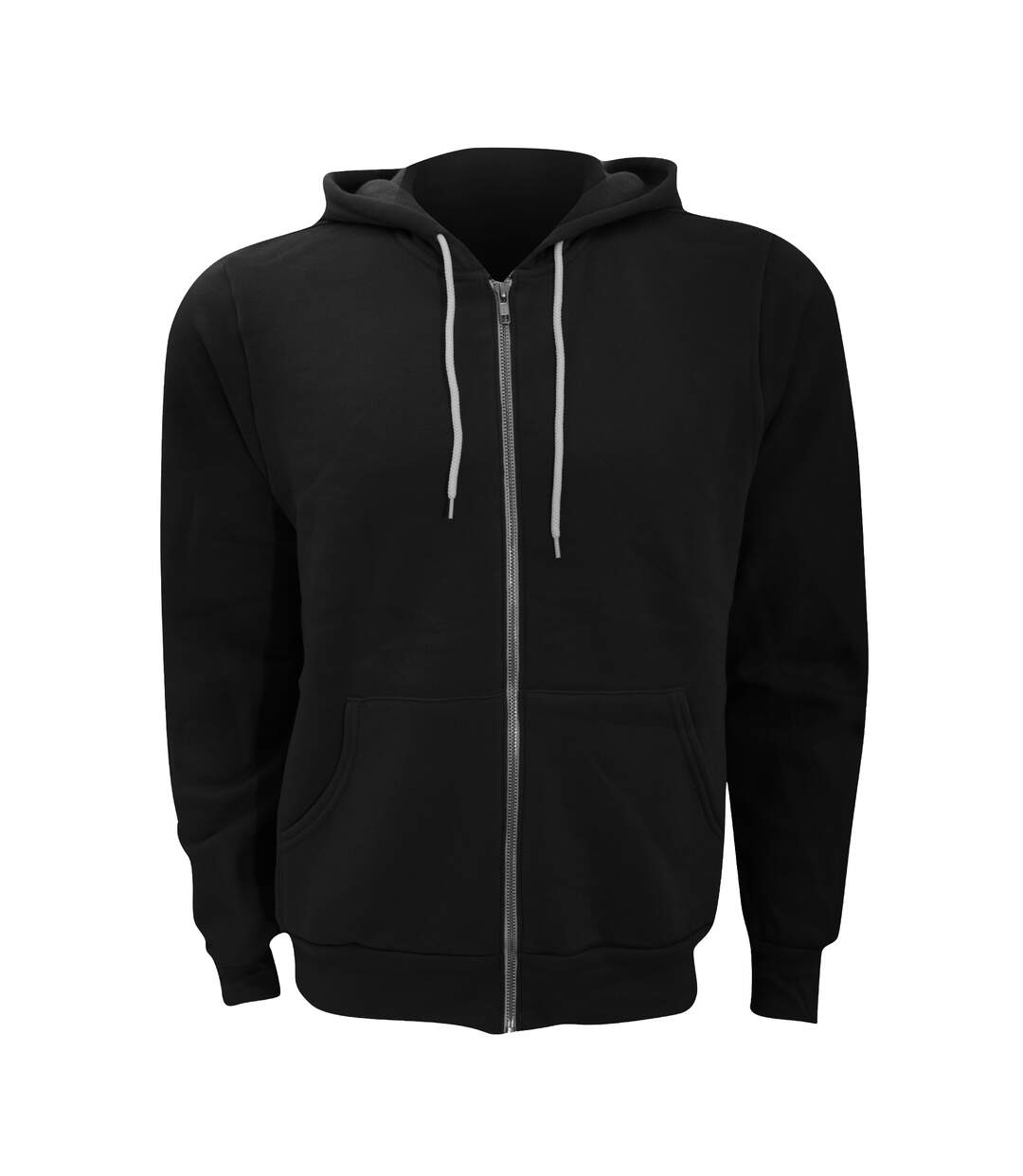 Canvas Unixex Zip-up Polycotton Fleece Hooded Sweatshirt / Hoodie (Black) - UTBC1337