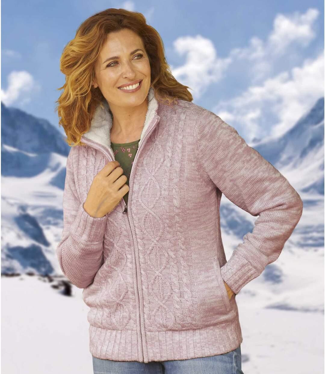 Silný svetr na zip s fleecovou podšívkou