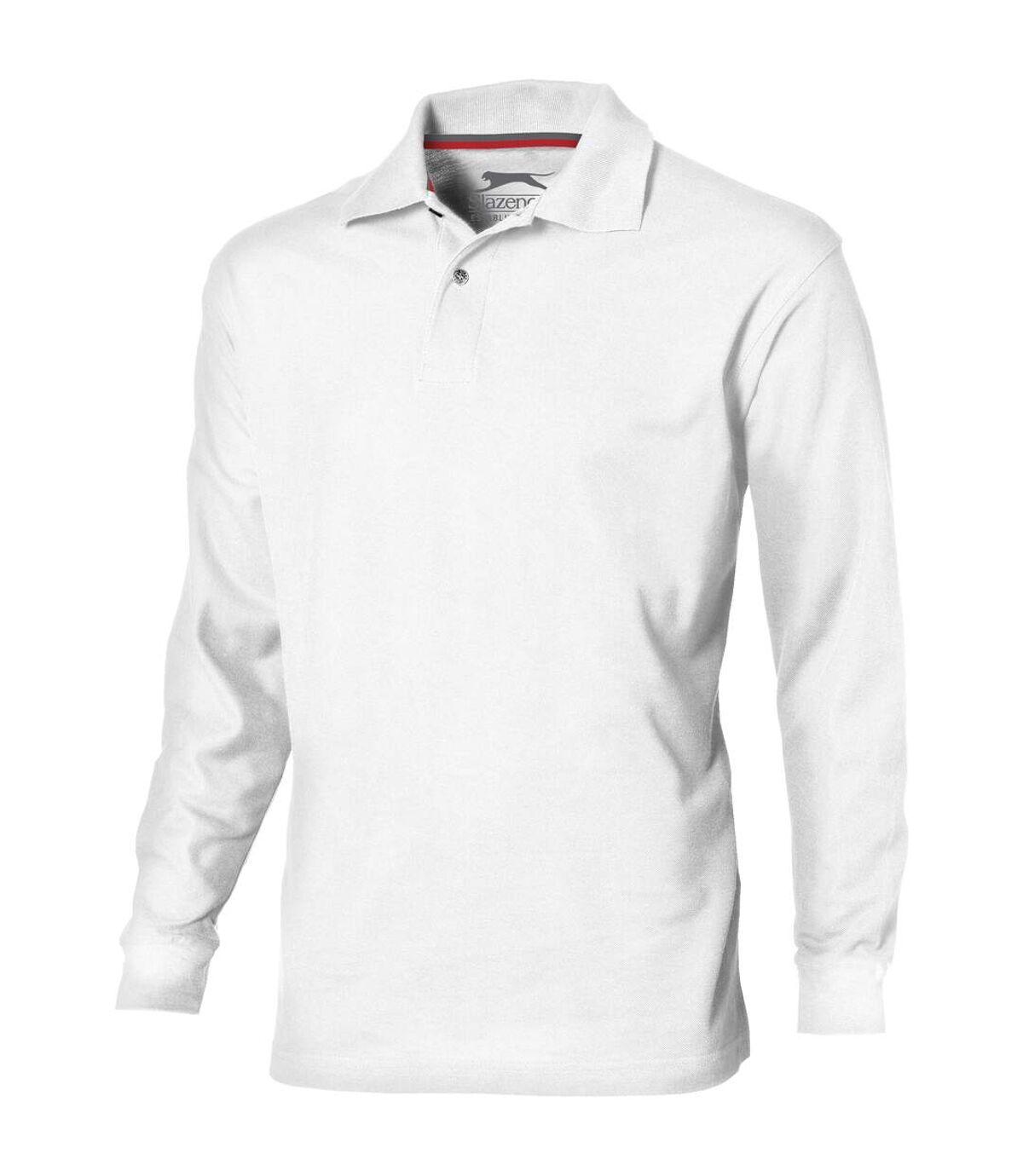 Slazenger Mens Point Long Sleeve Polo Shirt (White) - UTPF1744