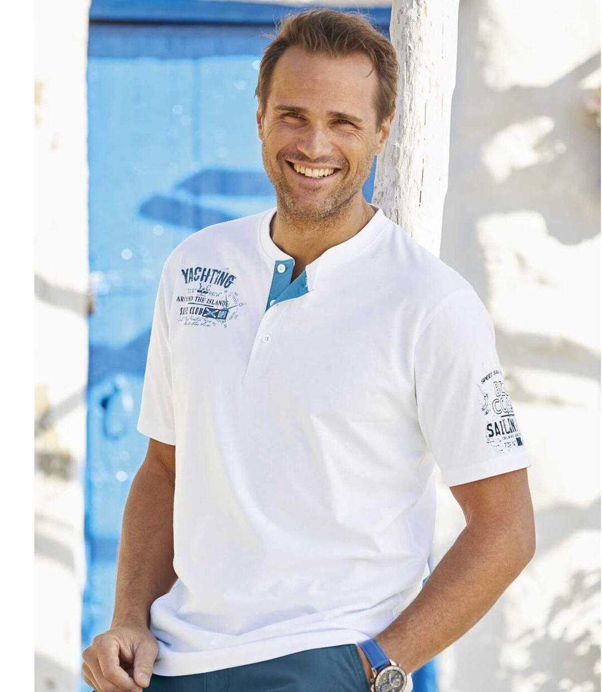 2er-Pack T-Shirts Yachting mit Henleykragen Atlas For Men