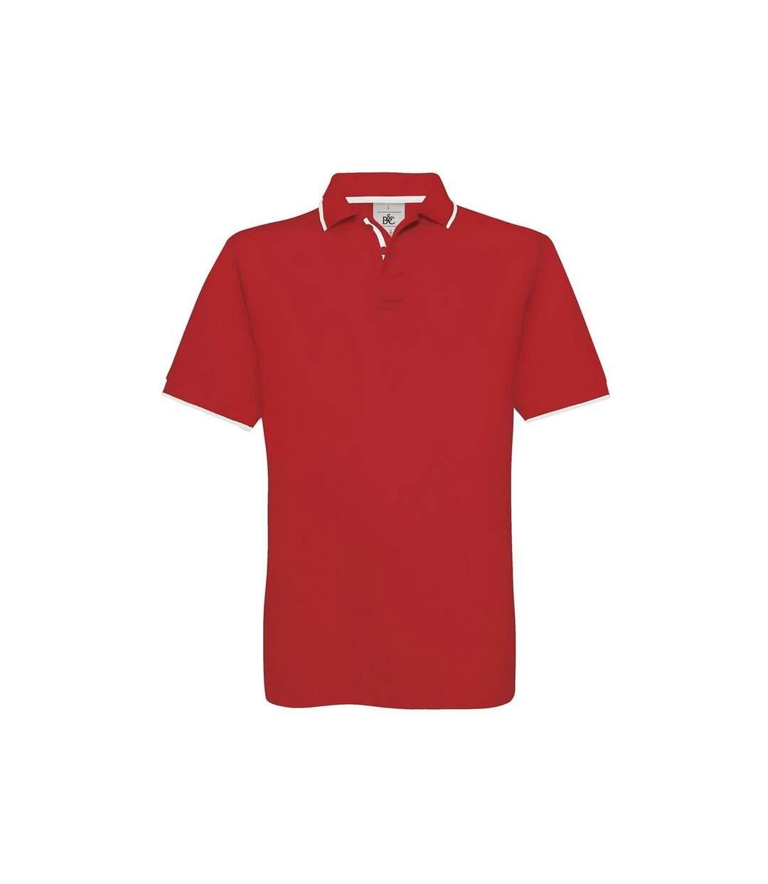 B&C Mens Safran Sport Plain Short Sleeve Polo Shirt (Red/White) - UTRW3513