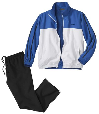Men's Sporty Microfiber Tracksuit - Black Blue White