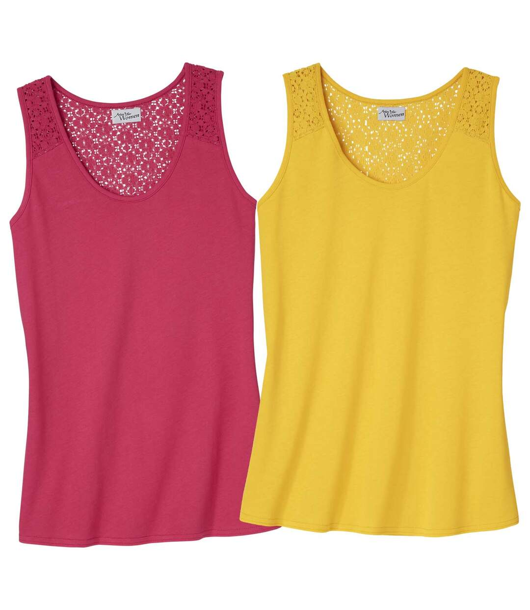 Women's Pack of 2 Guipure LaceVests - Yellow Pink