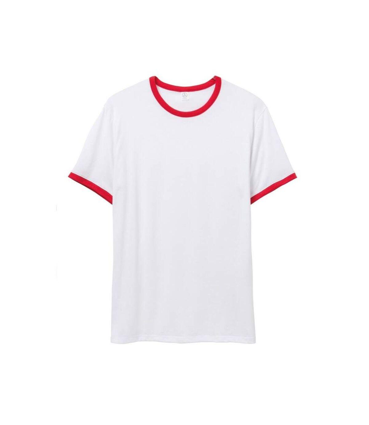 Alternative Apparel Mens 50/50 Vintage Jersey Ringer T-Shirt (White/Red) - UTRW7149