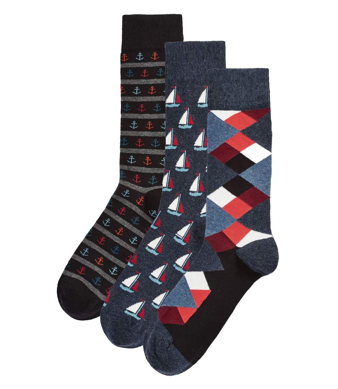 Mens 3pk Happy Colour Heel Toe Novelty Dress Socks