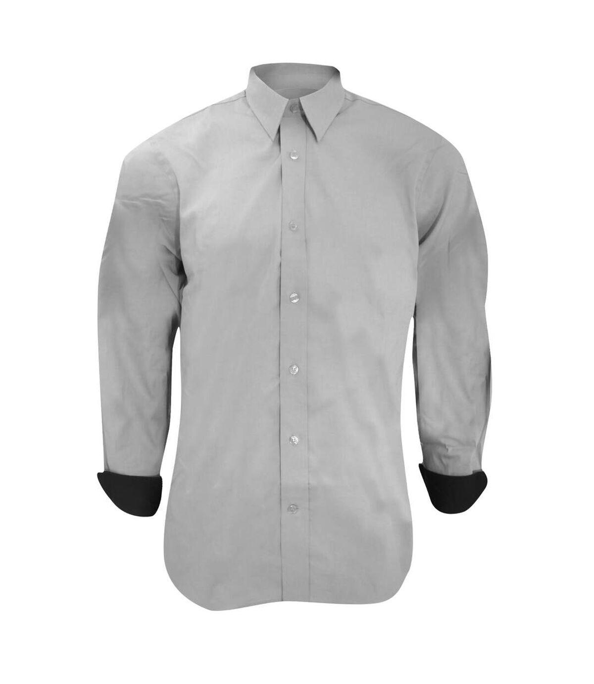 Kustom Kit Mens Long Sleeve Contrast Premium Oxford Shirt (Silver Grey/ Charcoal) - UTBC1445