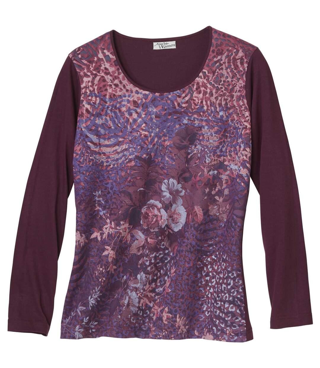 Women's Long Sleeve Plum Top - Floral Zebra Leopard Print